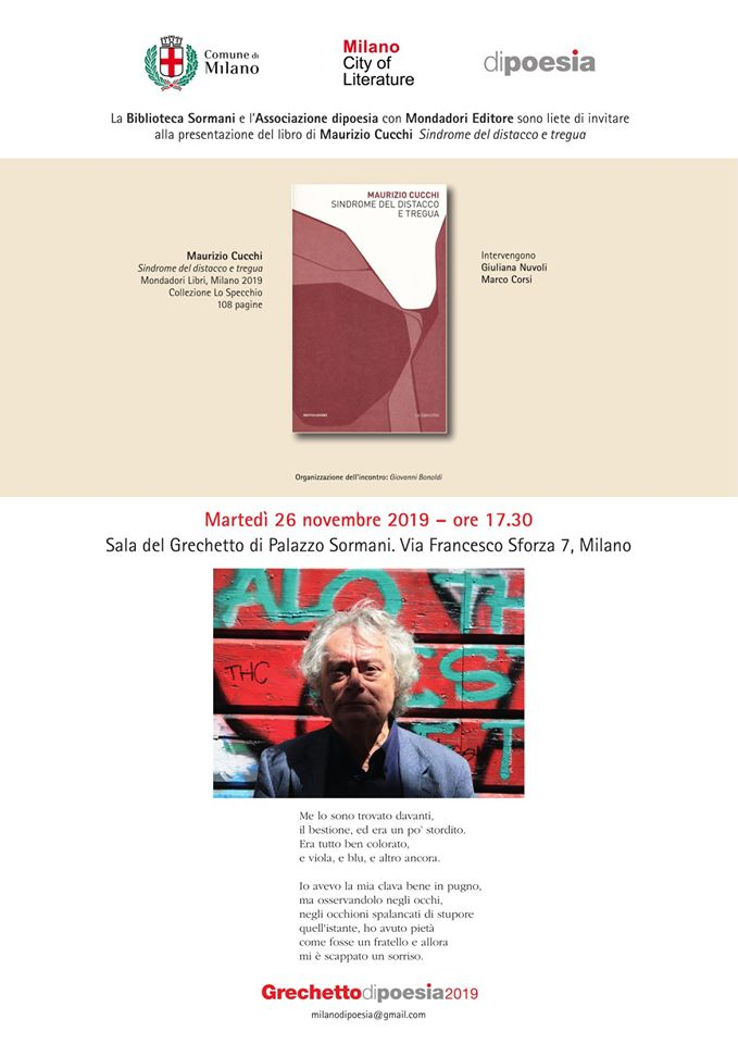 """Presentazione di """"Sindrome del distacco e tregua"""" di Maurizio Cucchi, con Giuliana Nuvoli e Marco Corsi, Sala del Grechetto, 26 novembre 2019"""