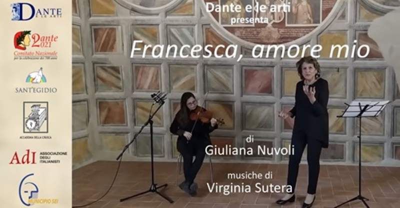 """""""Francesca, amore mio"""", di e con Giuliana Nuvoli, musiche di Virginia Sutera, Museo Palazzo Corboli, Asciano, 23 dicembre 2020, ore 21, https://www.youtube.com/watch?v=cqGFDeXoVwQ&t=936s"""