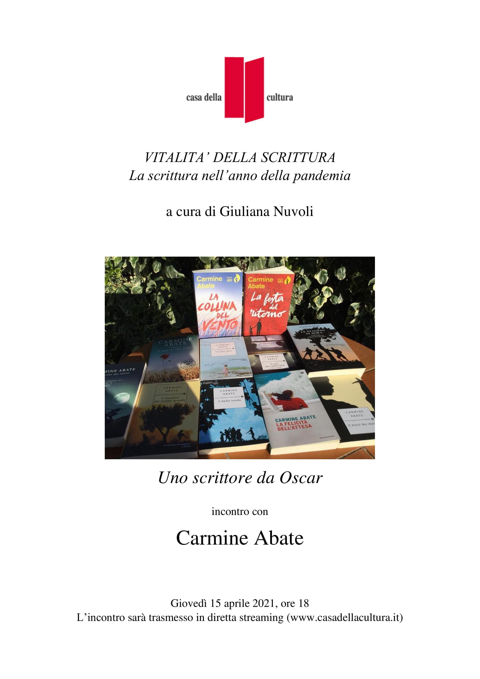 """Giuliana Nuvoli presenta Carmine Abate, """"Il ballo tondo"""", Oscar Mondadori, Casa della Cultura, 15 aprile 2021, ore 18, https://www.youtube.com/watch?v=te14Ftd5Vhc&t=1078s"""