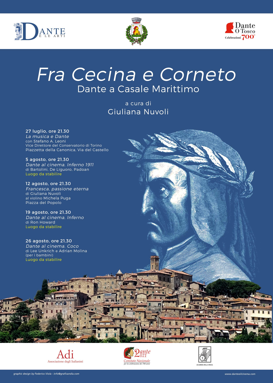 """""""Fra Cecina e Corneto. Dante a Casale Marittimo"""", a cura di Giuliana Nuvoli, 5 incontri a Casale: 27 luglio-26 agosto 2021"""