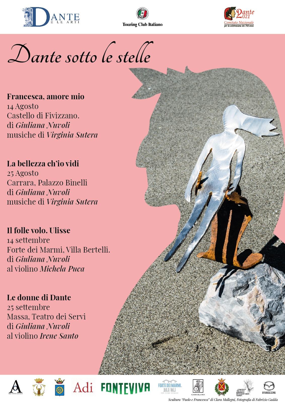 """""""Dante sotto le stelle"""", di Giuliana Nuvoli, 14 agosto – 25 settembre 2021: Fivizzano, Carrara, Forte dei Marmi, Massa"""