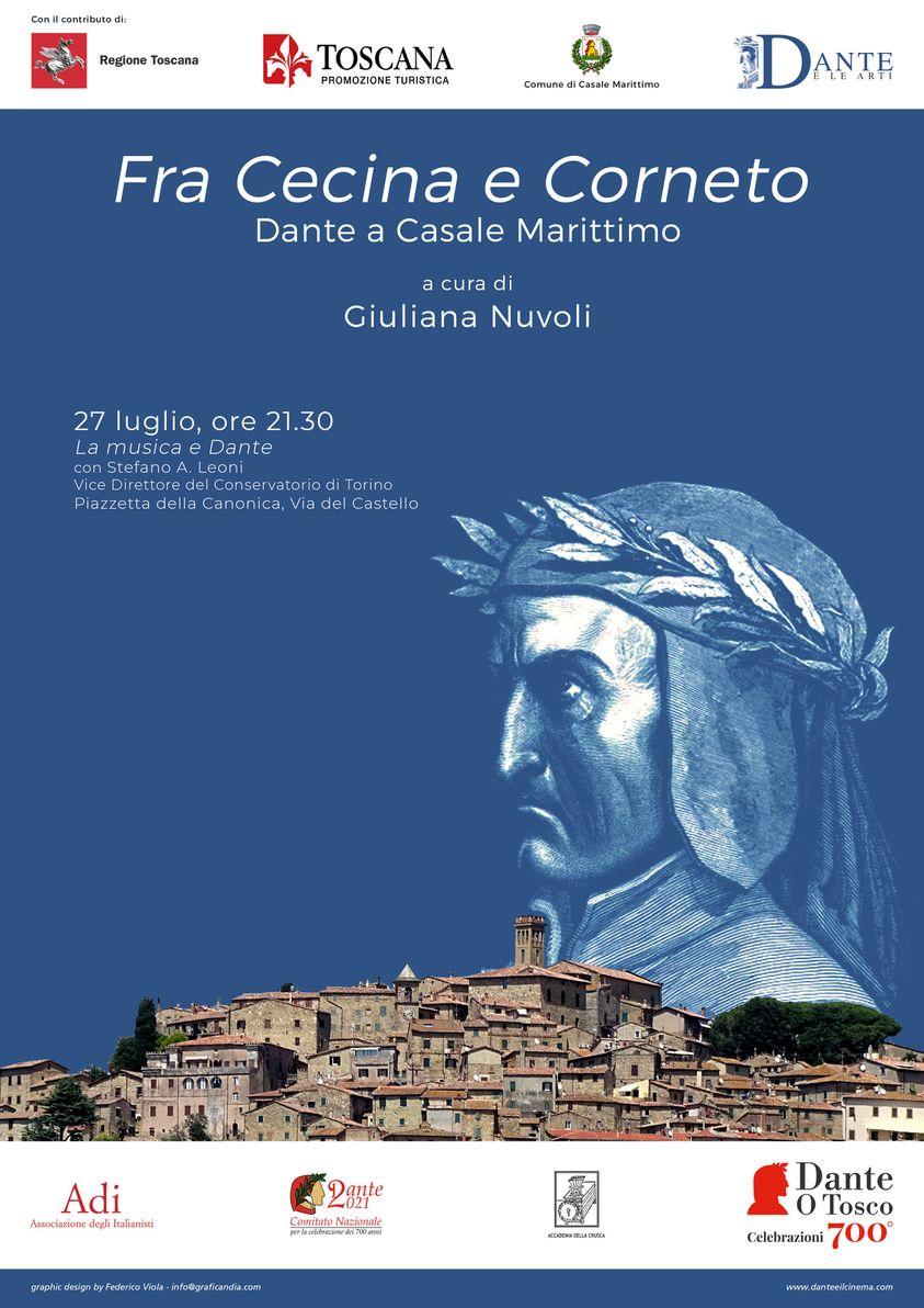 """""""La musica e Dante"""", con Stefano A. Leoni, in """"Fra Cecina e Corneto. Dante a Casale Marittimo"""", 28 luglio 2021, ore 21.30, Piazzetta della Canonica"""