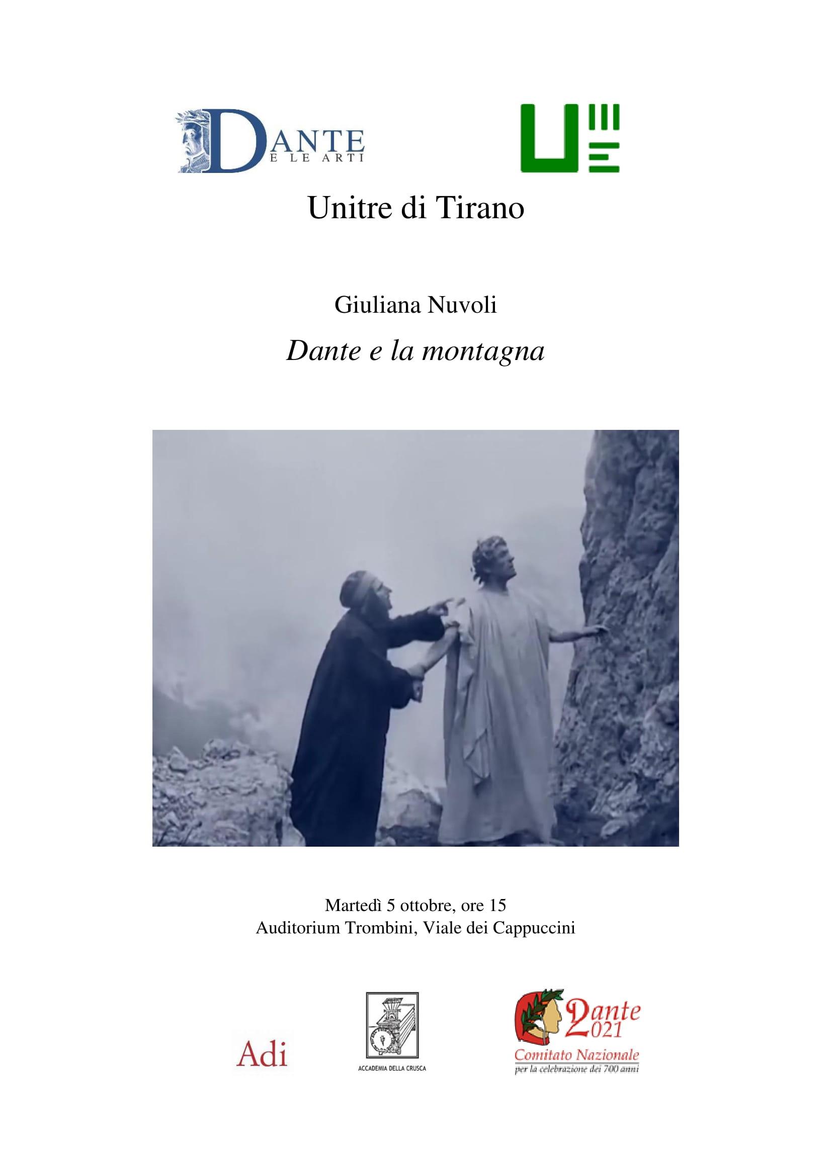 Giuliana Nuvoli, Dante e la montagna, 5 ottobre 2021, ore 15, UNITRE, Teatro Trombini, Tirano.